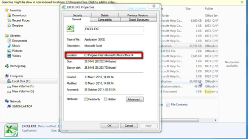 Copying the file location information