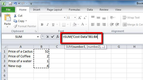 The formula accesses the data from a specific sheet