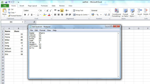 Comparing the text data to the spreadsheet data