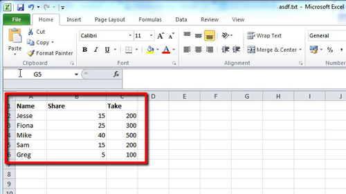 Excel data with a larger column