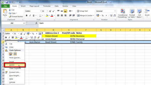 Highlighting and deleting entries