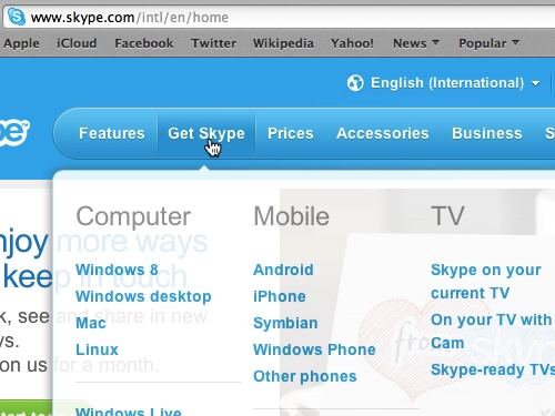 Move the mouse pointer to Get Skype