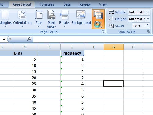 Set the print options of the header row