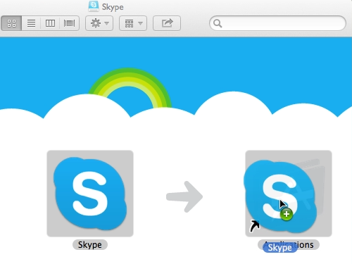 Drag and drop the Skype app into the Applications folder