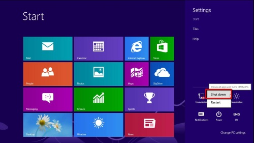Choosing to shut down Windows 8