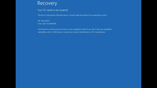 The Recovery screen