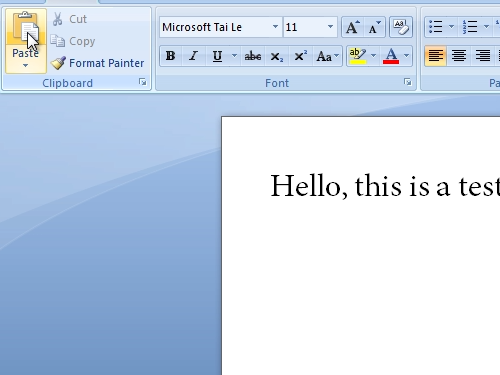 Insert copied text into Microsoft Word document