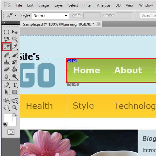 Create a slice on the webpage template