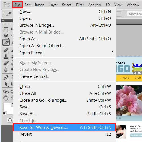 Using the save for web & devices option