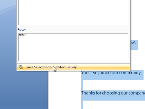 Save Selection to AutoText Gallery