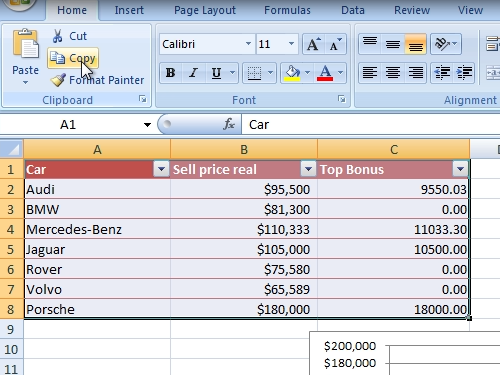 Copy the contents of an excel document