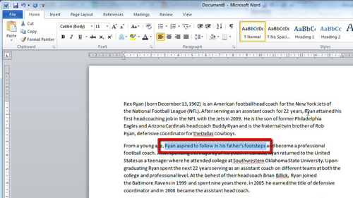 Highlighting the text temporarily