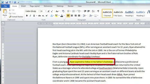Using a keyboard shortcut to highlight the text