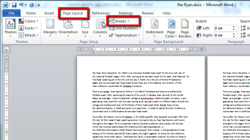 The Page Layout and Breaks options