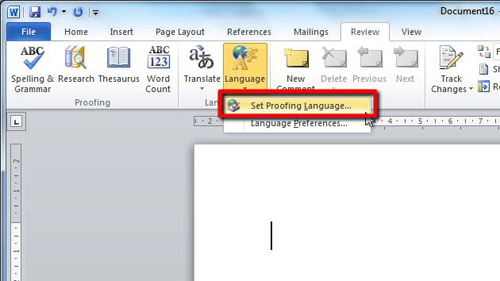 Opening the language settings