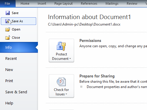 Save the Word document