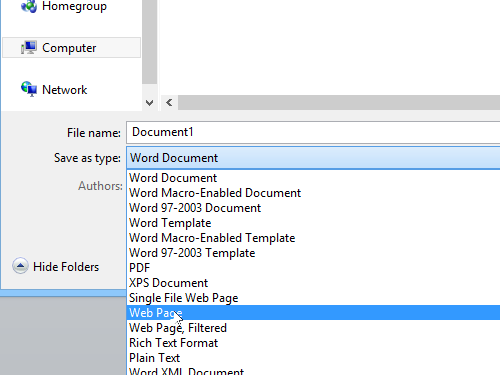 Select the file type