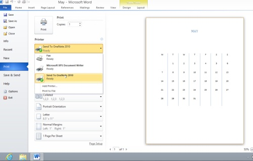 Choose Send To OneNote 2010