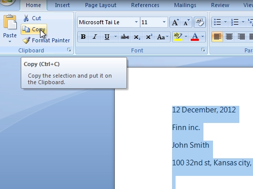 Copy the selected text to clipboard