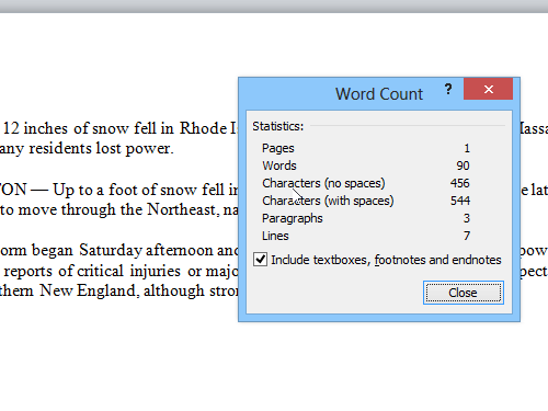 Show the Word Count
