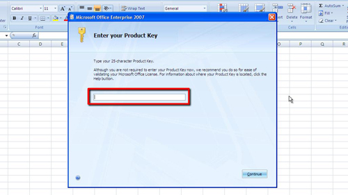 Entering your new product key