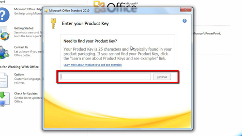 Enter your new product key here
