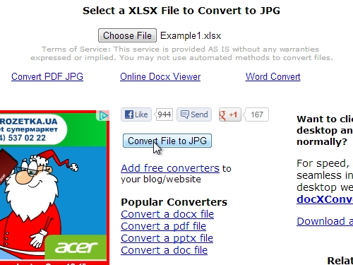 Convert Excel document in the JPEG picture