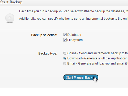 Click start Manual Backup
