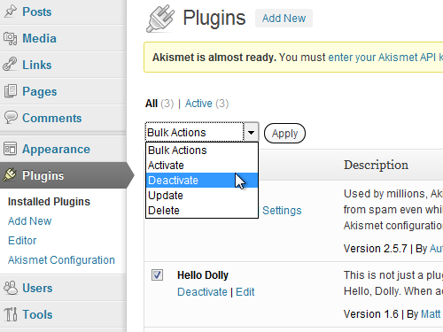 Disable the installed plugins