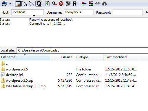 Enter the address of the FTP server