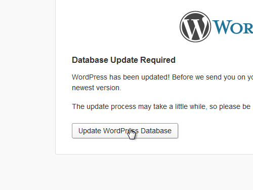 Click Update WordPress Database