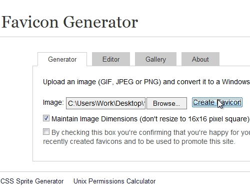 Creat favicon from the selected image