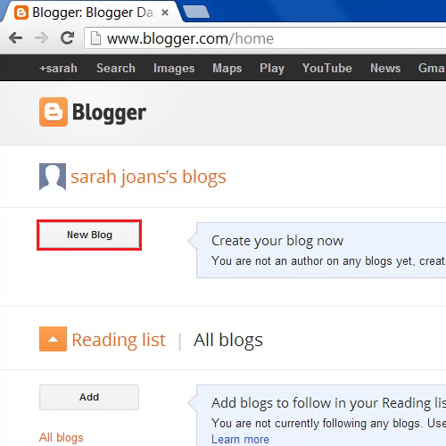 Click on the New Blog button