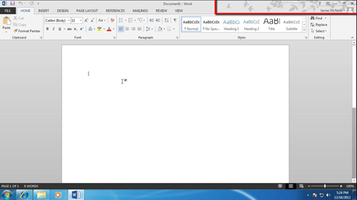 MS Word with the changed theme