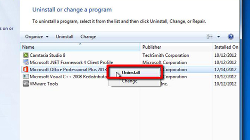Choosing to uninstall Office 2013
