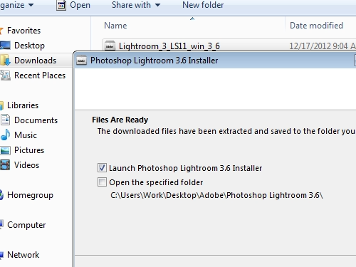 Check the option Launch Photoshop Lightroom 3.6 Installer