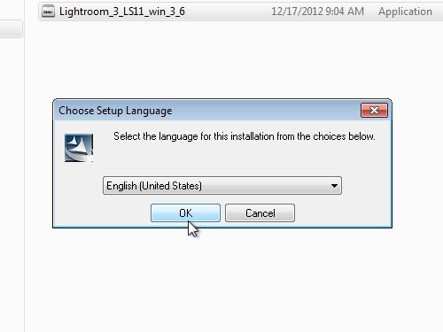 Select the language of the installation