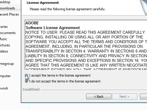 Agree with a license terms