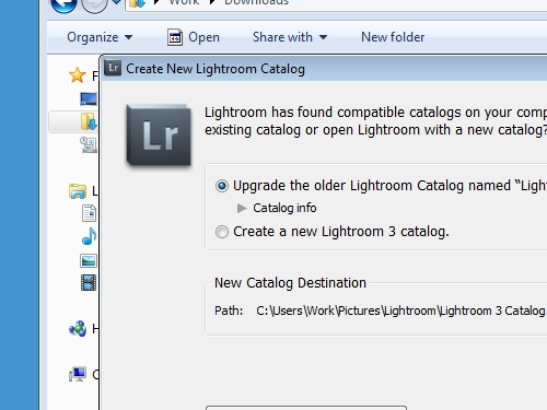 Select Upgrade the older Lightroom Catalog