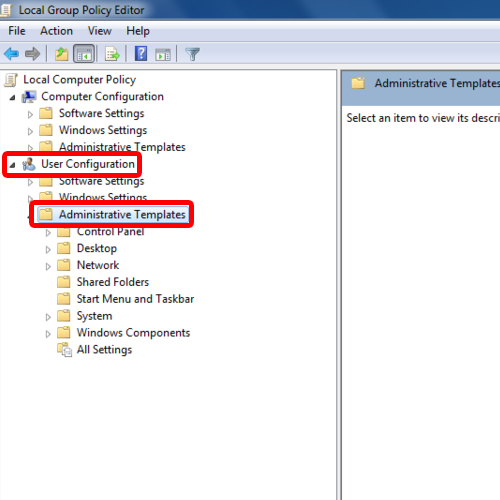 Accessing Administrative Template under User Configurations