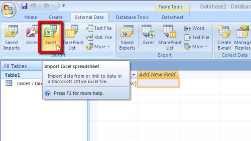 The dedicated Excel import button