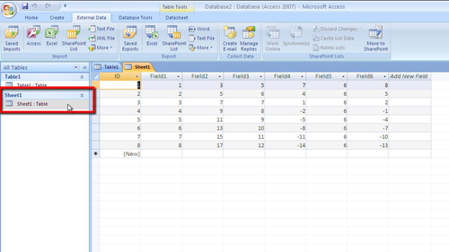 The successfully imported data in Sheet1