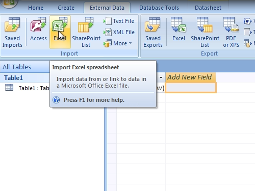 Import Excel spreadsheet