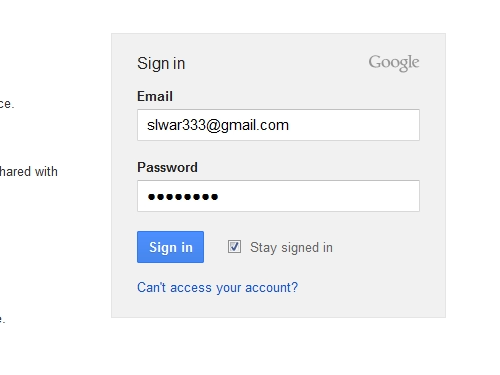 Sign in to the Google account