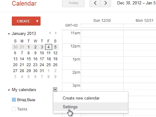 Open the Calendar Settings