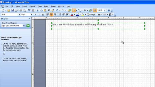 Placing the text in the Visio workspace