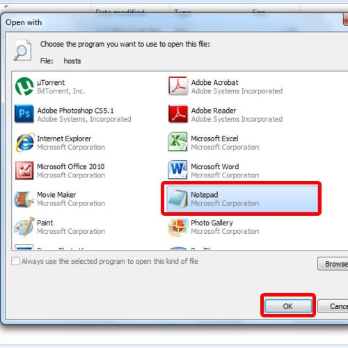 Open Host File with Notepad