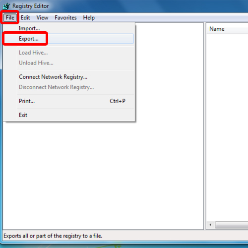 Use Export in Registry Editor