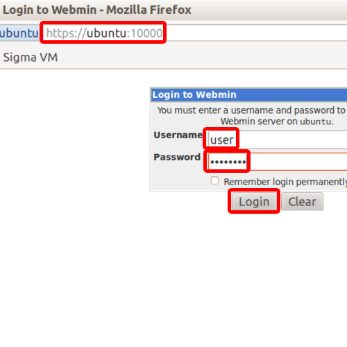 Accessing admin page of Webmin