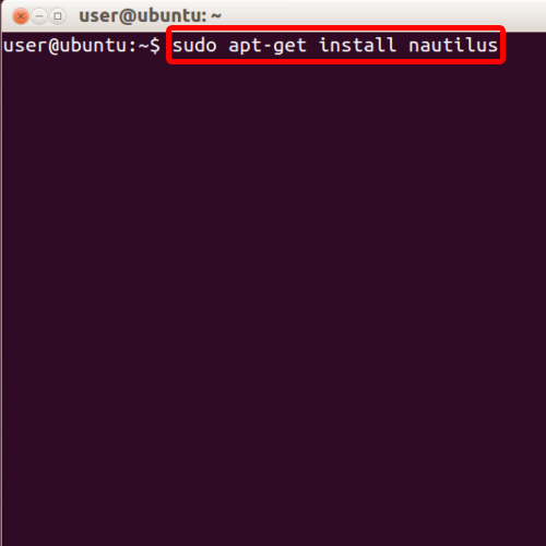 Insert command for installation of nautilus
